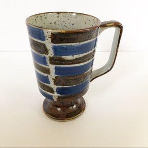 Vintage Stoneware Handmade Striped Coffee Mug